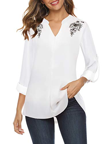 Bulotus White Chiffon Blouses for Women 3/4 Sleeve Business Casual Tops, White, Small