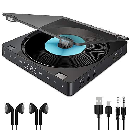 Gueray Reproductor de CD Portátil con Auriculares Dobles y batería de Litio...