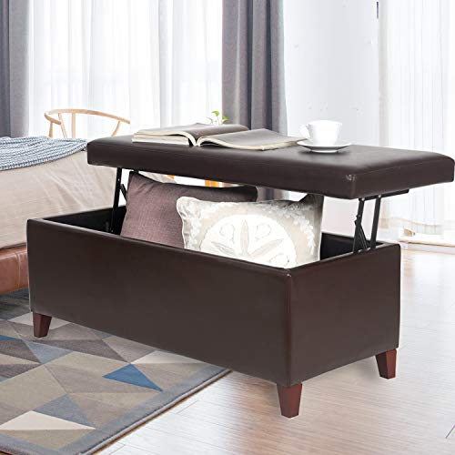"""Joveco 42"""" Storage Bench Ottoman Footstool- Lift Top Coffee Table Ottoman- Brown Faux Leather Ottoman with Storage- End of Bed Bench- Toy Chest for Living Room and Bedroom"""