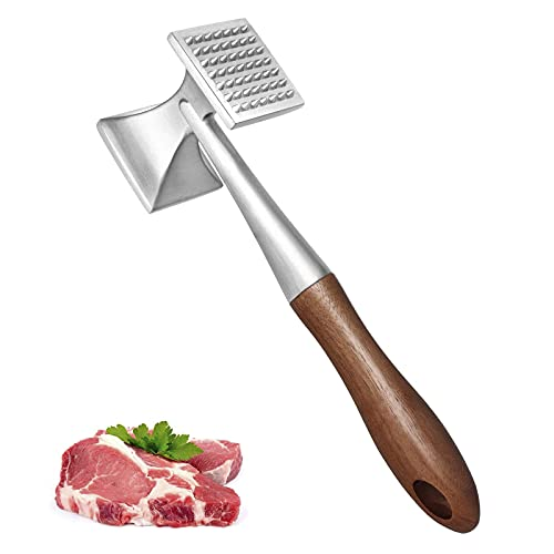 Meat Tenderizer Tool Hammer Kitchen Mallet or Pounder Solid Metal Construction with Wood Handle 10 Inch Long Cooking Tool Wooden for Tenderizing Steak, Chicken, Beef, BBQ, Marinade and Poultry