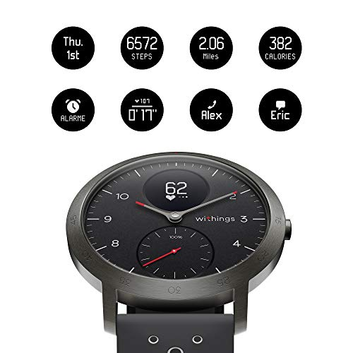 Withings Steel HR Sport – Multi-Sport Hybrid Smartwatch – Herzfrequenz- und Fitnesstracker, schwarz, 40mm - 3