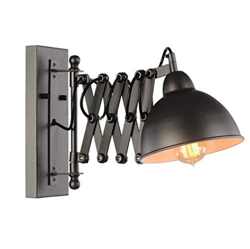 MQW Lámpara De Pared Ligera De La Pared De La Vendimia Industrial Extensible De Pared De Luz Ajustable Brazo Flexible De Metal Negro, Negro, A