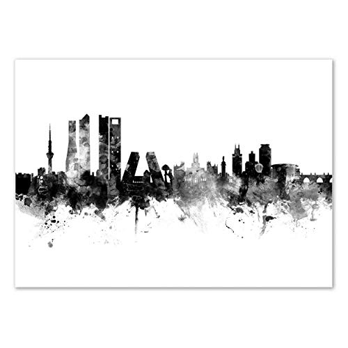 Wall Editions Art-Poster - Madrid Spain Skyline - Michael Tompsett