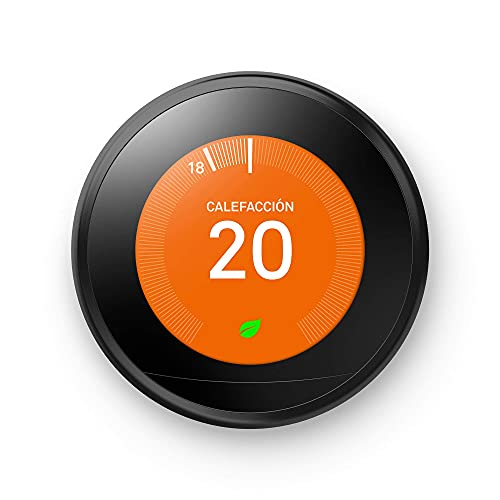 Google Nest Learning Thermostat Negro, Se controla desde el teléfono, Ayuda a ahorrar energía