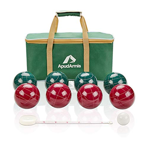 ApudArmis Bocce Balls Set, Regulation Size 100mm Bocce Game for Outdoor/Backyard/Lawn/Beach with 8 PCS 100% Resin Balls / 1 Pallino/Nylon Carrying Case/Measuring Rope (Red & Green)