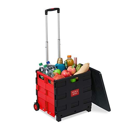 Relaxdays Einkaufstrolley klappbar, bis 35 kg, 50 l Kiste, mit Teleskopgriff, 2 Rollen, Transport Trolley, rot/schwarz