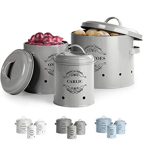 Virklyee® Kartoffeltopf, Zwiebeltopf und Knoblauchtopf Belüftet Vorratsbehälter Set, Set of 3 Die perfekte Kombination aus Modedesign (Grau)