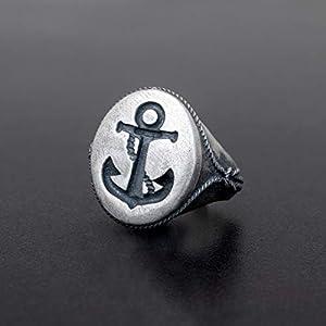 925 Sterling Silber Ring für Männer Ring Männer Schmuck Herren Geschenk für Männer Ring Anker Ring nautischen Ring…