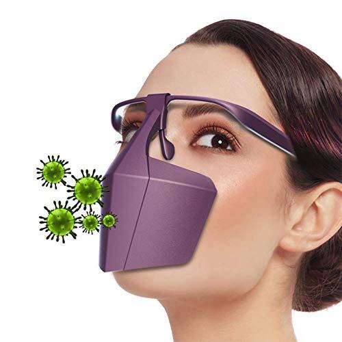 YYKAKUAN Kunststoff Gesichtsabdeckung Anti-Saliva Einer Infektion zu verhindern Gesicht Mund-Nasenschutz-Schild, 2 St,Lila