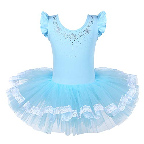 BAOHULU Leotards for Girls Ballet Dance Tutu Skirted Princess Dress DiamondBlue, XL