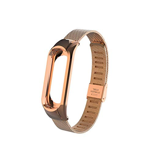 OLLIVAN Xiaomi Mi Band 3 Replacement Strap, Stainless Steel Wristband Bracelet Replacement Band Wrist Strap for Mi Band 3 Tracker, Host Remove Easily via Double Elastic Buckle (Buckle Rose Gold)