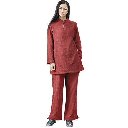 KSUA Womens Chinese Kung Fu Clothing Tai Chi Suit Cotton Yoga Suit for Zen Meditation Martial Arts, Dark Red US S/Tag M