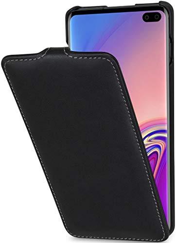 StilGut UltraSlim entwickelt für Samsung Galaxy S10 Plus/S10+ Hülle - Samsung Galaxy S10 Plus Flip Case aus Leder, Klapphülle, Handyhülle, Lederhülle - Schwarz Nappa
