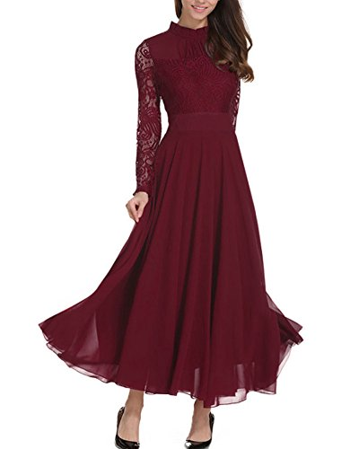 Roiii Women's Formal Floral Lace Chiffon Long Sleeve Evening Cocktail Party Maxi Dress (Large, Wine Red)