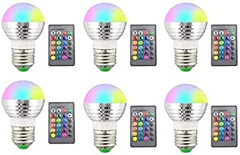 KLED 6Pack 3W Remote Controller RGBW Color Changing LED Light Bulbs, Wireless 3W LED RGB Color Changing Spotlight Bulb for...