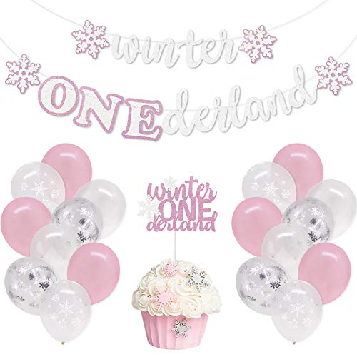 Winter First Birthday Party Decorations Kits, Winter Onederland Banner Snowflakes One Cake Topper Latex Balloons for Winter Baby Girls 1st Birthday Cake Smash Party Supplies (Type B)