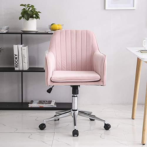 Vanimeu Velvet Office Chair Swivel Adjustable Height Home Office Computer Desk Chairs (Soft Pink)