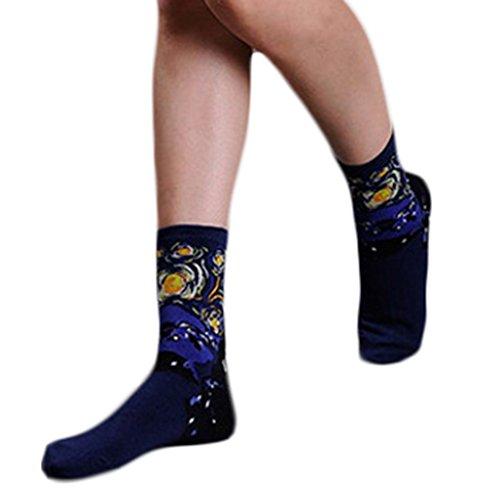 Bigood 1 Paar Damen Mädchen Geblümt Wintersocken Damensocken Erstlingssöckchen Stricken Socken Einheitgröße Schwarzblau