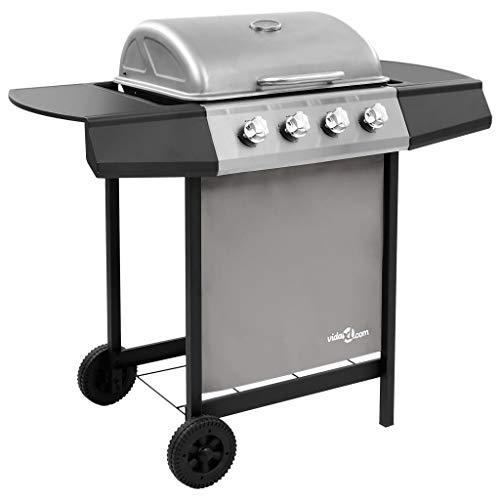 Festnight Barbecue à Gaz avec 4 Brûleurs 8,0 KW Noir et argenté
