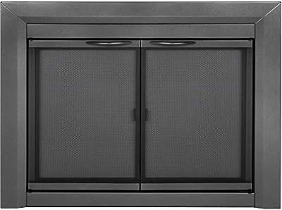 Pleasant Hearth CR-3400 Craton Fireplace Glass Door, Gunmetal, Small by Pleasant Hearth