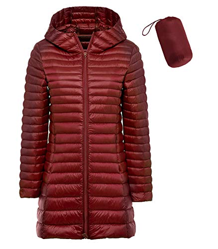 sunseen Women's Packable Down Coat Lightweight Plus Size Puffer Jacket Hooded Slim Warm Outdoor Sports Travel Parka Outerwear (L, Long-Wine Red)