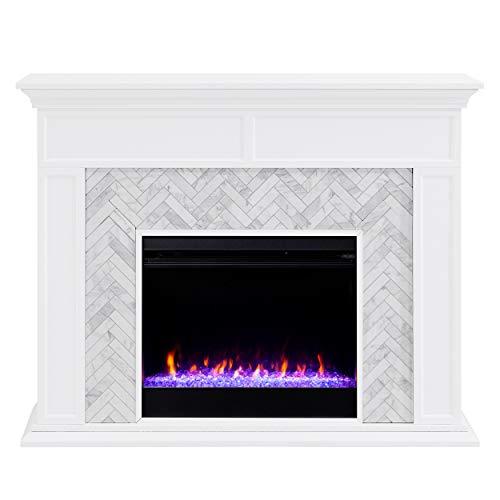 SEI Furniture Torlington Fireplace, White/Gray