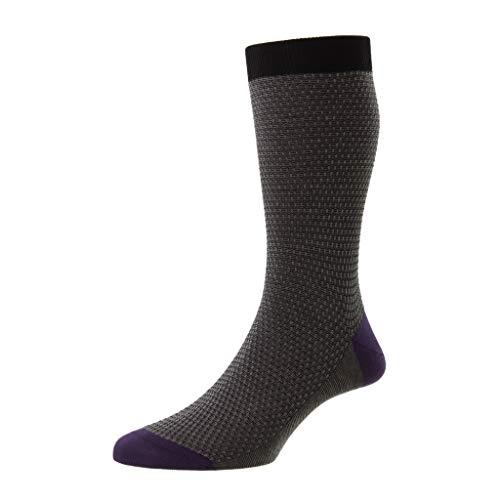 Pantherella Petworth Herren-Socken aus Piqué-Baumwolle, wadenhoch, schwarz, Medium