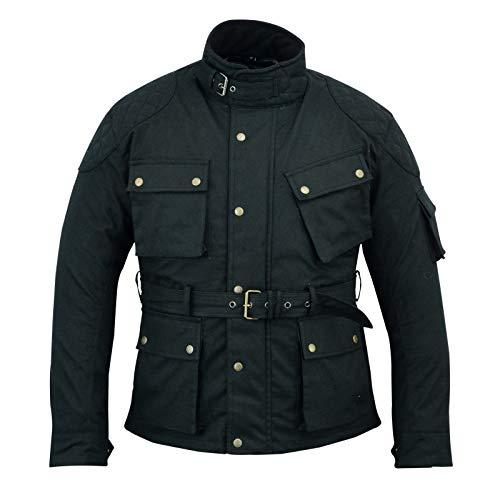 Giacca da motociclista da uomo in cotone cerato cerato, giacca da moto Warrior, foderata impermeabile, cappotto invernale per motociclisti corazzato per uomo- nero (7XL)
