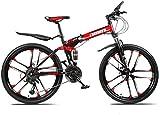 Las bicicletas de montaña bicicleta plegable, suspensión de 26 pulgadas de 27 velocidades doble freno de disco completo antideslizante, estructura ligera de aluminio, Suspensión Tenedor, Rojo, D MAMIN