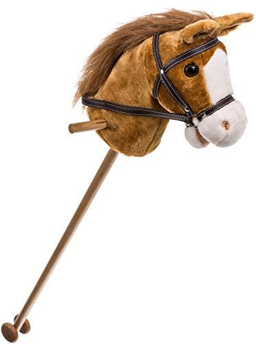 Bieco Steckenpferd Kinder Brownie | ca. 100 cm | Top Qualität | Holzpferd Draußen & Drinnen | Plüschpferd zum Reiten | Holzpferd für Jungen und Mädchen | Kuschelpferd