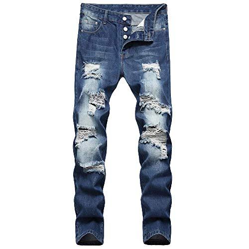 Pantalones de Hombre Jeans Nostálgicos Agujero de Color sólido Recto Recto Botón Delgado Pantalones Vaqueros de Moda callejera Pantalones