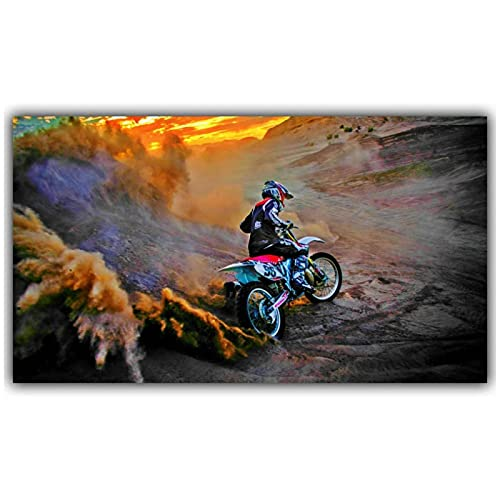 Xiangll Mountain Motorcycle Mountain Bike Competition Poster Custom Home Decoration Fashion Silk Fabric Wall Poster Car Design Wallpaper Print On Canvas-50X70Cm No Frame