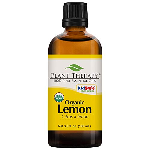 Plant Therapy Lemon Organic Essential Oil 100% Pure, USDA Certified Organic, Undiluted, Natural Aromatherapy, Therapeutic Grade 100 mL (3.3 oz)