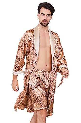 YAOMEI Unisex Damen Herren Morgenmantel Bademäntel Kimono Lang, Satin Nachtwäsche Bademantel Robe Negligee locker Schlafanzug mit V Ausschnitt mit Gürtel Taschen Größe 5XL (5XL, Gold)
