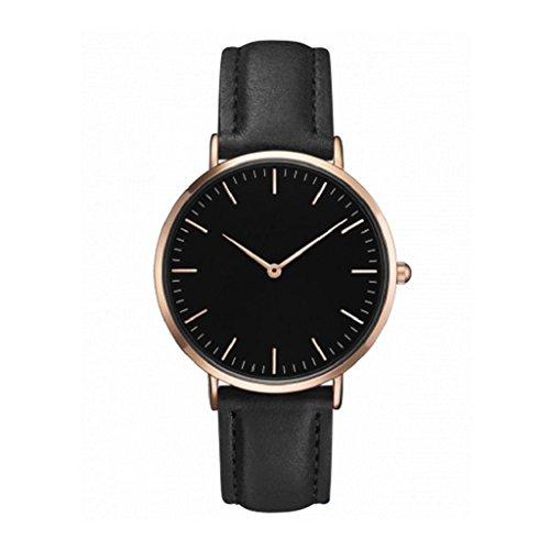 Retro Quartz Watch,Hosamtel Women Men Simple Casual Quartz Analog Wrist Watches (Black)