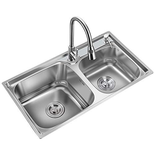 Fregadero Doble De Acero Inoxidable Pulido Tipo Pull, Accesorios Especiales para Grifos De Agua De Cocina para Uso Doméstico, Fácil Instalación