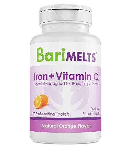 BariMelts Iron + Vitamin C  Dissolvable Bariatric Vitamins  Natural Orange Flavor  90 Fast Melting Tablets