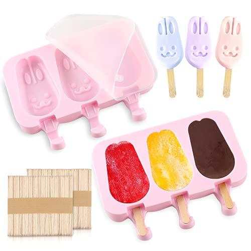 Stampi ghiaccioli in Silicone, Stampo per Ghiaccioli, 2 Set Stampi per Gelato con 100 Bastoncini, gelatiere per Alimenti Senza BPA, stampi per Gelato al Cioccolato congelato Fai da Te (coniglio)