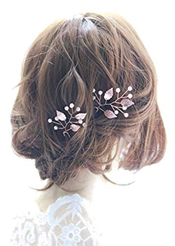 Fashion Jewery Damen Haarschmuck Accessoires Haarblumen Haargesteck Haarnadeln 2er Set 2 Stücke Tiara Diadem Blumen Blüte Braut Haarschmuck Farbe nach Wahl (Rosegold/dunkelgold)