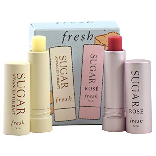 Fresh Color and Care Lip Kit - Mini Duo Lip Balm Treatment Gift Set:: Sugar Rose Tinted Lip Treatment SPF 15, and Sugar Lip Treatment Advanced Therapy