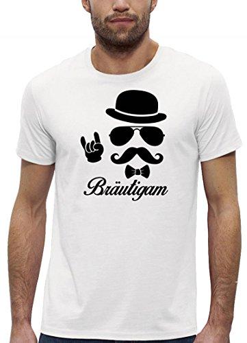Junggesellenabschied JGA Premium Bio Baumwoll Herren Männer T-Shirt Stanley Stella Sunglasses Bräutigam Kombi, Größe: L,White