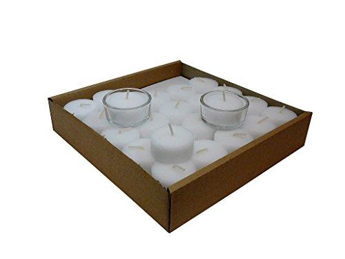 Wenzel 50 Teelichter Weiß ohne Hülle, Rohlinge, Nachfüllpack, 4 Stunden Brenndauer, inkl. 2 Glashalter, ohne Duft, Kerzen
