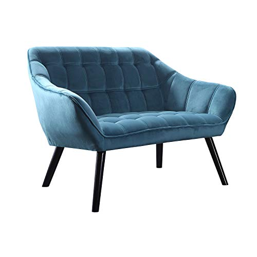 Adec - Olden, Sofá de Dos plazas, sillón de Descanso 2 Personas, Acabado en Tejido Color Verde Aguamarina, Patas de Madera Color Negro, Medidas: 127 cm (Largo) x 75 cm (Ancho) x 77 cm (Alto)