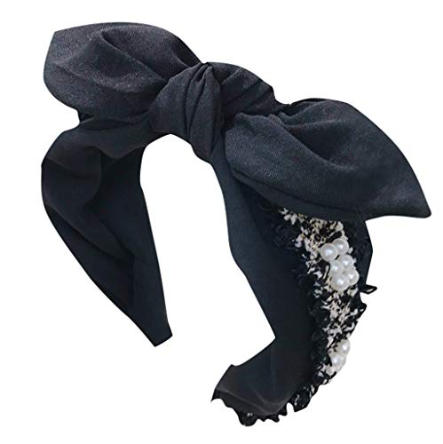 MAWOLY Damen Haarband Mesh Retro Die Seide Schal Niedlich Schmuck Knospe Garn Packung Headband Kristall Mehrschichtig Knoten Bogen Stirnbänder