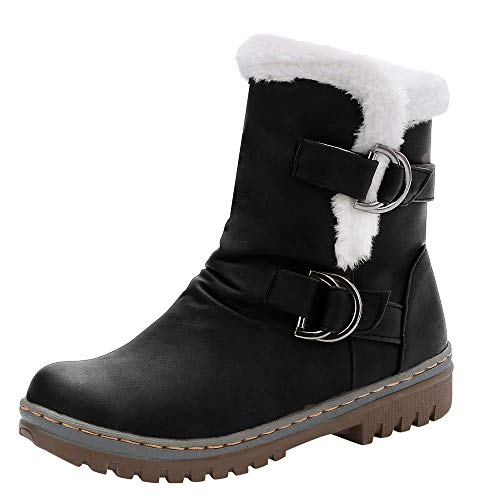 Yowablo Damen Winter Stiefel Stiefeletten Worker Boots Klassiker Schnalle Warme Schuhe Fell Martin Schneestiefel Kurze Stiefel (40 EU,Schwarz)