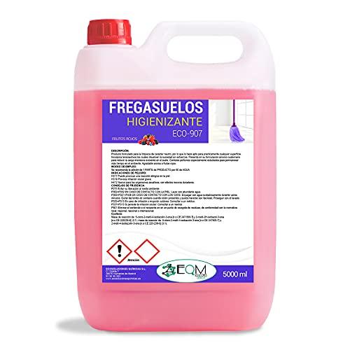 Ecosoluciones Químicas ECO- 907   Fregasuelos Bactericida de acción rápida   FRUTOS ROJOS FLORAL   Somos fabricantes, Calidad asegurada   5 Litros (FRUTOS ROJOS)