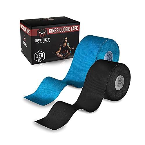 Effekt Manufaktur - (5m x 5cm) Rolle - Kinesiologie Tape in versch. Farben (2er Set) - Kinesiotapes Wasserfest & Elastisch für Sport - Kinesiotape Physio Tape Kinesio Tapes (Blau + Schwarz)