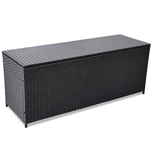 vidaXL Caja de Almacenamiento de Exterior Poliratán Negro Caja Baul Almacenaje