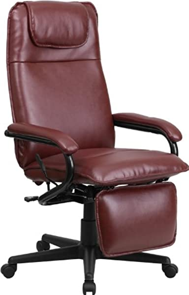 Emma Oliver High Back Burgundy Leather Executive Reclining Ergonomic Office Chair With Arms