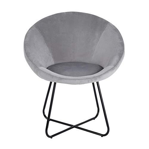 Cocoarm Sillón redondo de comedor, sillón de relax, cojín suave de terciopelo, asiento y respaldo con patas de metal, sillón de televisión para dormitorio, salón, oficina